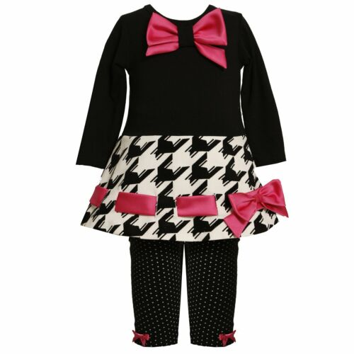 Bonnie Jean Baby and Little Girl Black White Pink Houndstooth Dress-Legging Set