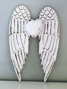 Details About 45cm Large Rustic White Wooden Angel Wings Heart Wall Hanging Home Decoration