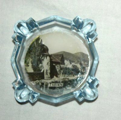 Aschenbecher Thann Elsass Frankreich 1920 / 1930 Bläuliches Glas Ascher Elsaß