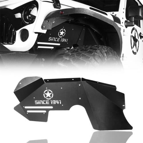 Pair Black Steel Front Inner Fender Liners for Jeep Wrangler 2007-2018 JK JKU