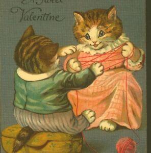 "SCARCE..! G.H. THOMPSON ""CAT'S CRADLE"",VALENTINE'S DAY,NISTER,VINTAGE POSTCARD"