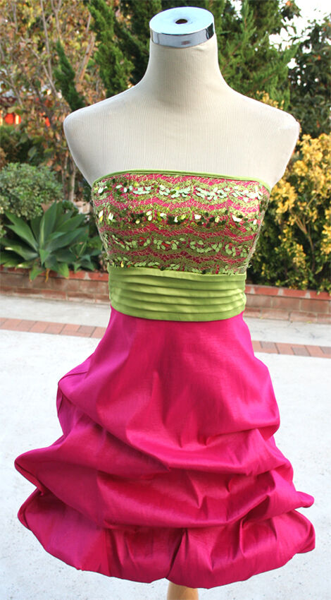 NWT XOXO  80 PINK   GREEN Prom Party Evening Dress 9