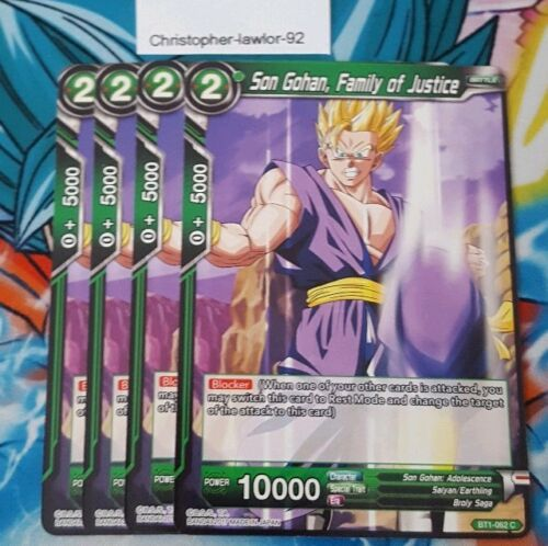 Son Gohan Family of Justice x4 BT1-062 Dragonball Super Card Game