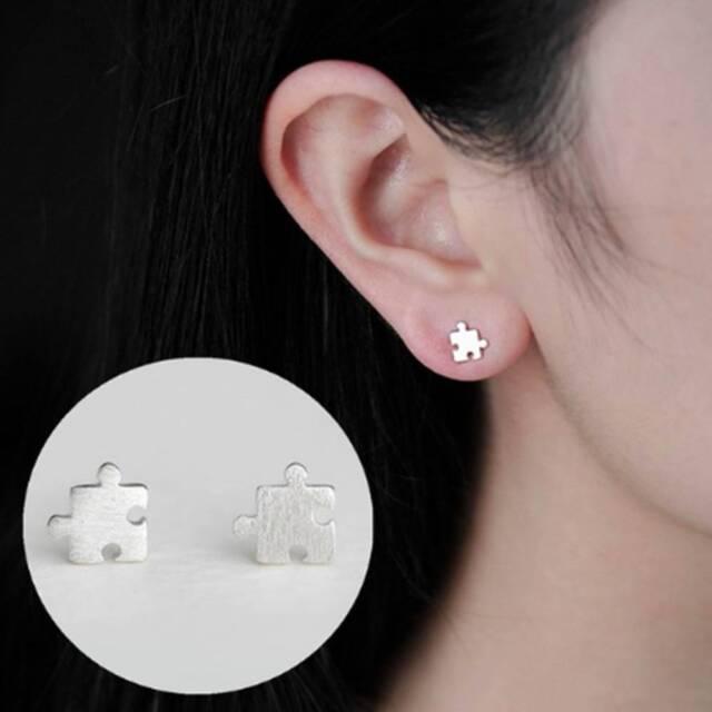 Cute Silver Mini Puzzle Design Earrings Funny Ear Studs  jewelry Kids Gift
