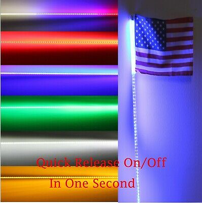 2pcs,4 feet Led light bulb whip with American flag Quick Release Green color