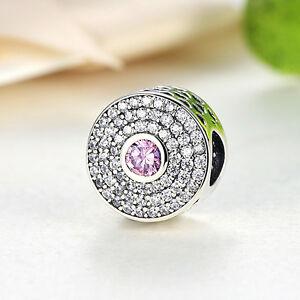 Blush-Pink-Crystal-amp-Clear-CZ-Radiant-Splendor-Sterling-925-Silver-Charm