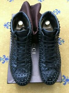 Gucci-Mens-Trainers-Black-Leather-Studded-Brooklyn-High-Tops-Shoes-UK-7-US-8-41