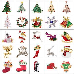 Vintage-Gold-Silver-Crystal-Rhinestone-Christmas-Tree-Snowman-Brooch-Pin-Jewelry