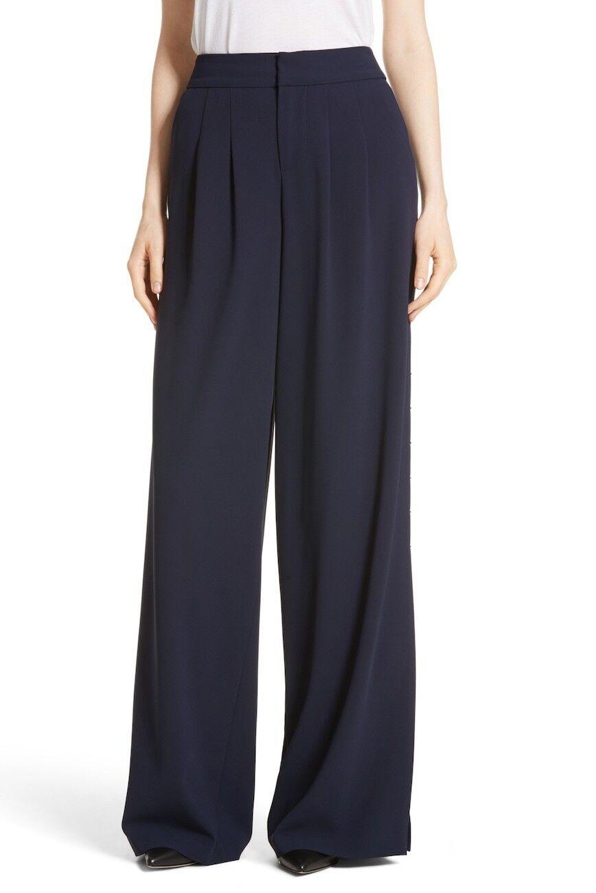 NEW Alice + Olivia Shavon High Waist Side Slit Flare Pants in Navy - Size 8