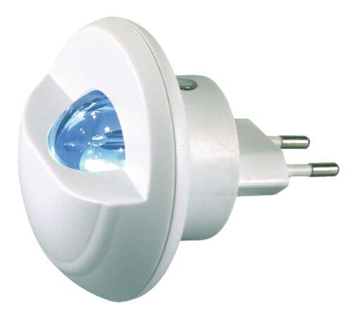 SENSOR 0.34W LED NIGHT LIGHT FOR 2 PIN EURO OR SHAVER SOCKET MAINS 220V-240V AC