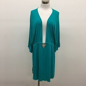 Dotti-2X-Beach-Coverup-Turquoise-Aqua-Stretch-Short-Sleeve