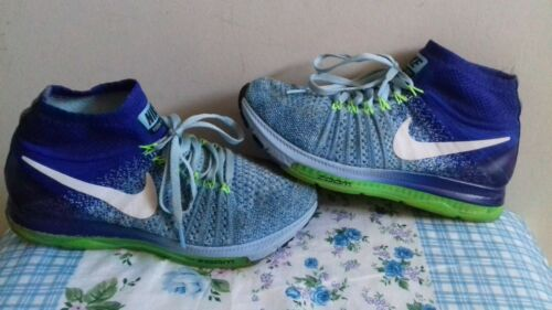 Para hombres Nike Zoom todos FLYKNIT CORRER Blue Zapatillas Size UK 4.5 EU 38 en muy buena condición