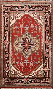 Traditional-Heriz-Serapi-Geometric-Oriental-Area-Rug-Wool-Hand-Knotted-3x4-ft