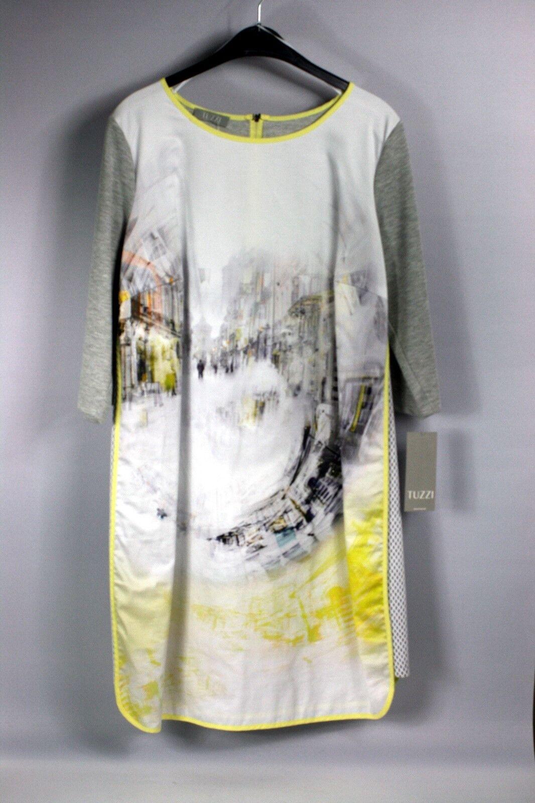 Kleid knielang grau-gelb-weiß 3 4 Arm Gr. 46 Tuzzi