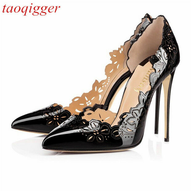 Large Dimensione 12CM Stiletto Occident donna pointed toe slip Hollow carving scarpe US