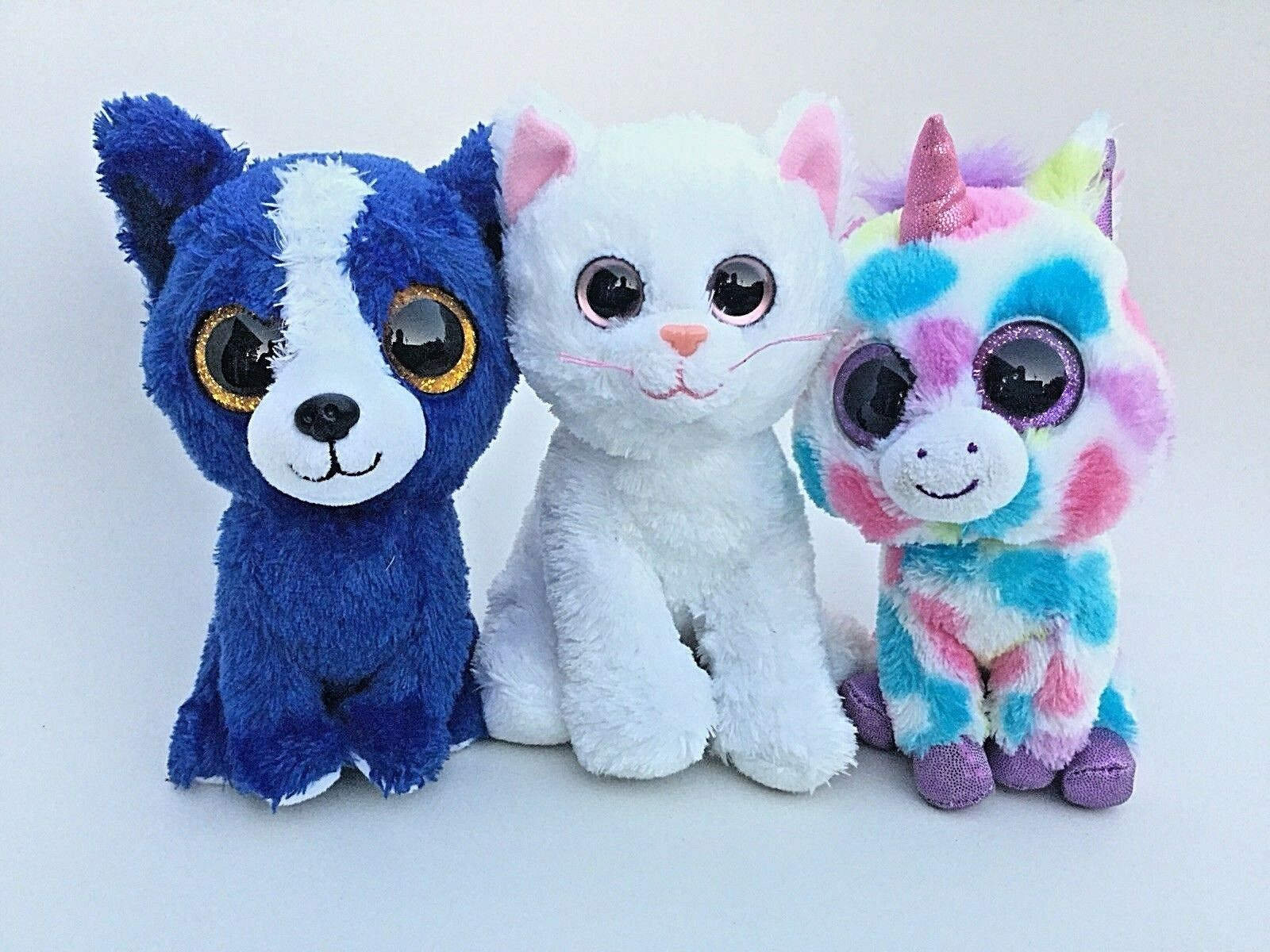 Lot Of 3 Ty Big Eye Beanie Babies - - - T-Bone Dog, white Cat, Wishful Unicorn b5e6f0