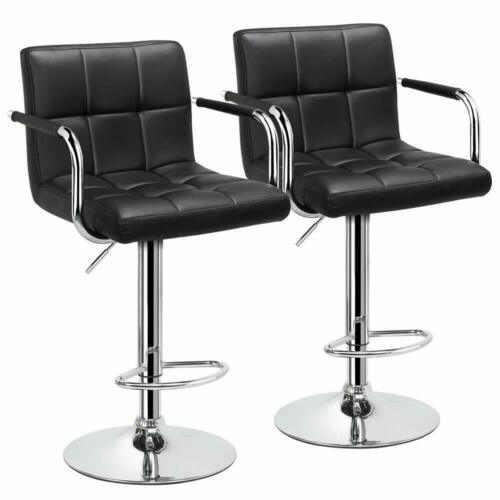 2 Black Adjustable Counter Stools Bar Chairs Synthetic Leather,Swivel Bars tools