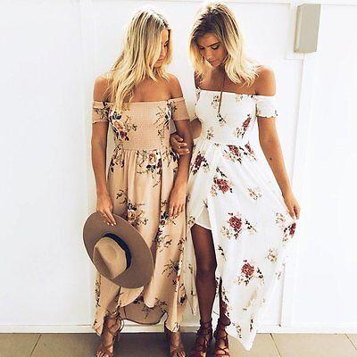 Boho Women Maxi Vintage Floral Skirt Sundress Summer Party Evening Beach Dress
