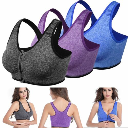 Women/'s Zipper Front Closure Sports Bra Racerback Yoga Bra with Removable Padded