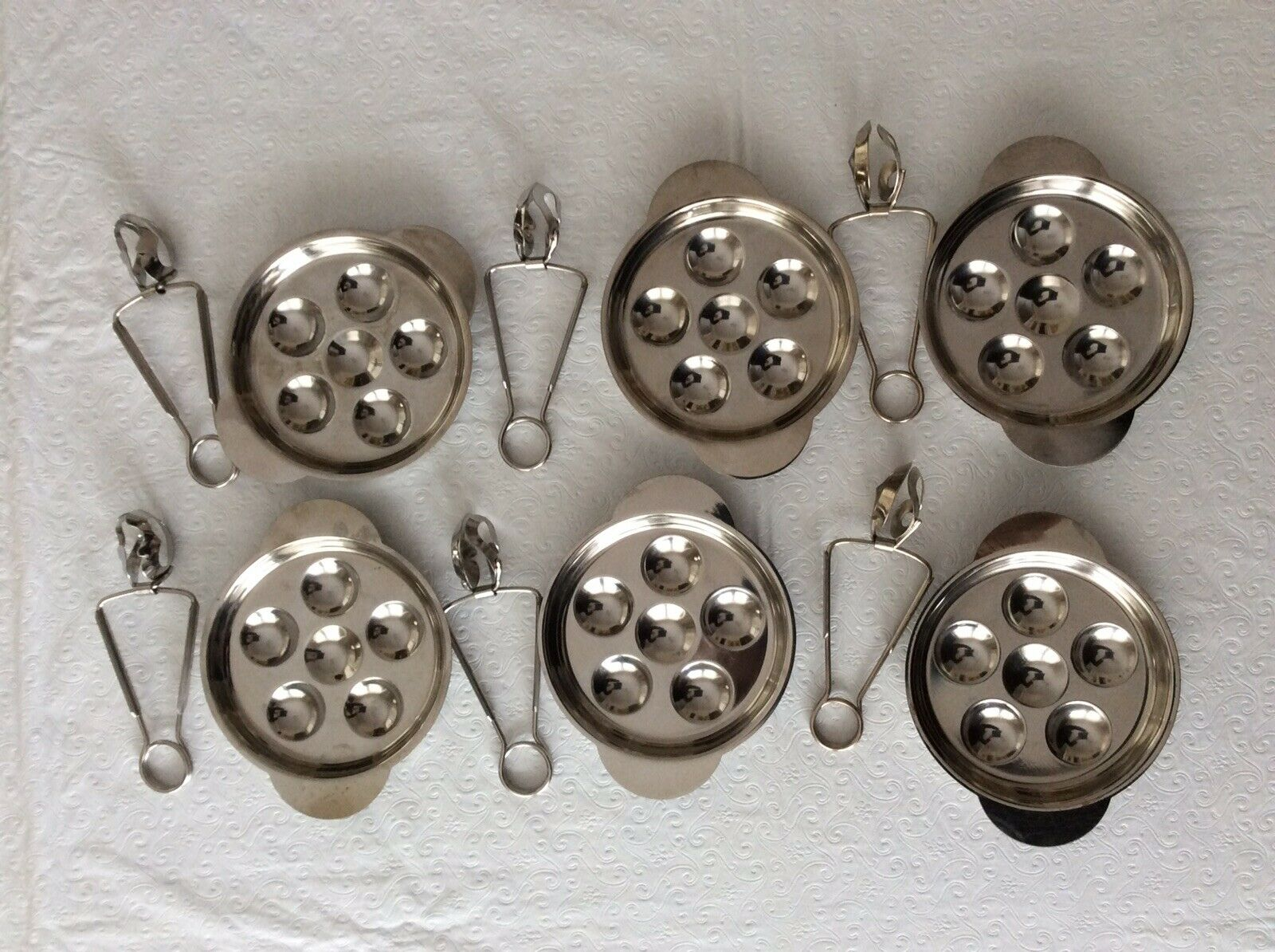 Escargot 6 Serving Sets  6 ASSIETTES & 6 pinces  Inox - 18% Inoxydable  France