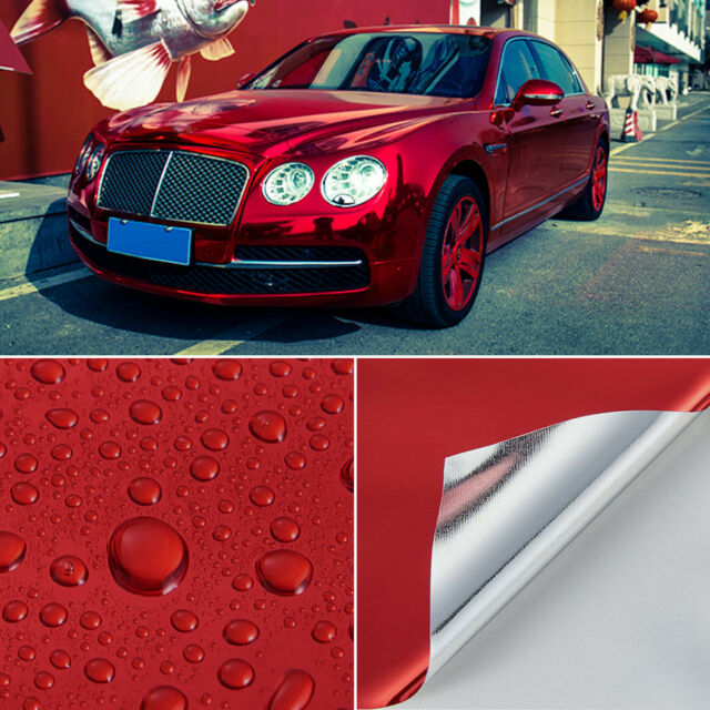 Mirror Chrome Vinyl Car Wrap Red (Air/Bubble Free) 1520mm x 600mm Interior Decal