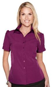 Tri-Mountain-Women-039-s-Short-Sleeve-Ruffle-Trim-Woven-New-Look-T-Shirt-LB752