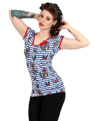 Liquor Brand Damen ANCHORS-BIRDS T-Shirts.Oldschool,Tattoo,Pin up,Biker Style