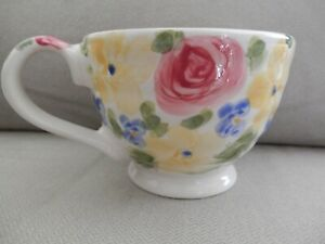 Tabletops-Gallery-Jardine-Hand-Painted-Hand-Crafted-Large-Floral-Cup-EUC