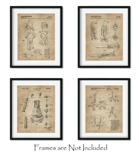 """Wall Art Decor Aerospace Lovers Gift Outer Space Patent Prints 8/""""x10/"""" Set of 4"""