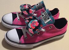 New Converse All Star Low K Double Tongue 654226F Neon Pink Juniors Girls Size 2