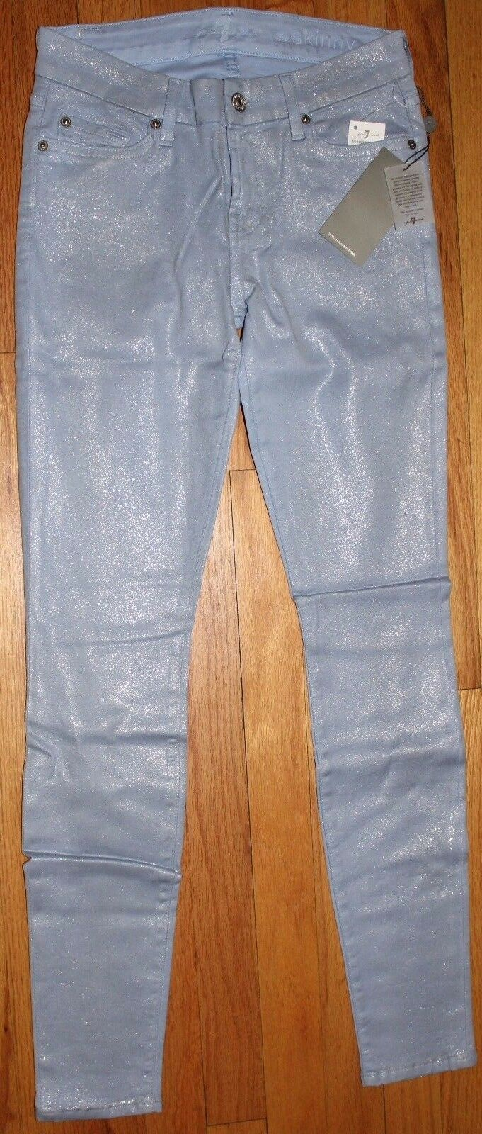 7 FOR ALL MANKIND LAVENDER WITH GLITTERS SKINNY JEANS SZ  26