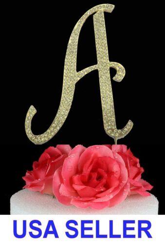 "Large Rhinestone Crystal Monogram /""A/"" Wedding Cake Topper 5/"" inch High Gold"