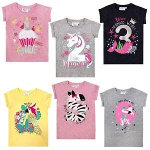 Mädchen Geburtstag T Shirt Top Glitzer Flamingo Zebra Einhorn Zahlen