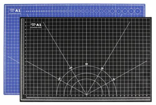 Profi-Schneidematte blau//sw cm//inch selbstheilend A1= 60x90cm Druck beidseitig