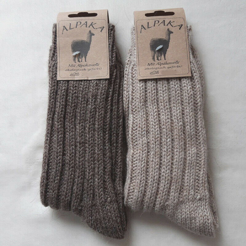 2 Paar Damen MH Alpaka Socken Grobstrick 100% Wolle hell und dunkelbraun 35 - 42