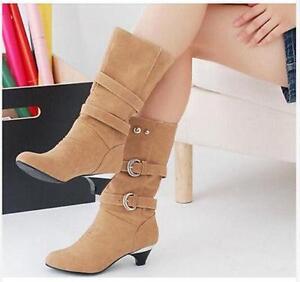 Womens Mid Calf Boots Kitten Heels