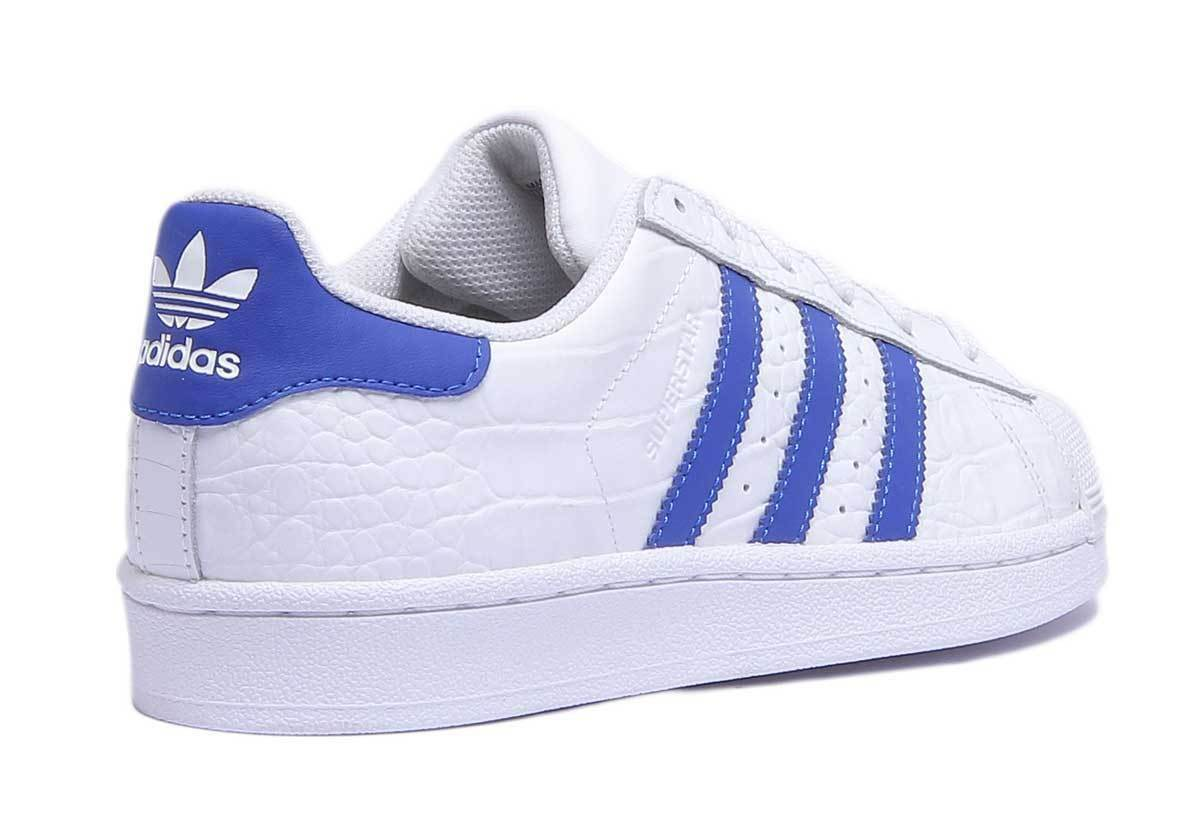 Adidas Superstar Unisex Leather White 12 Blue Trainers UK Size 3 - 12 White 9c34d3