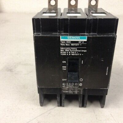 Siemens BQD3100 3 Pole 100 Amp Circuit Breaker