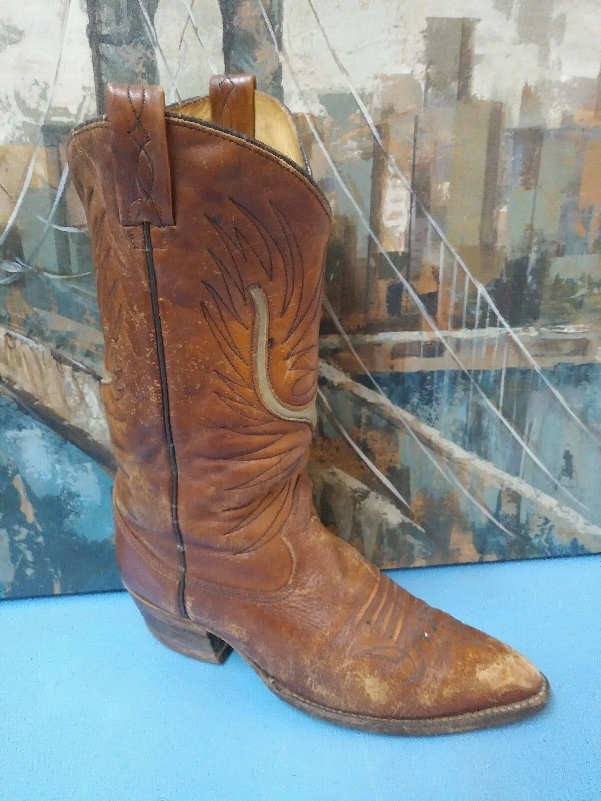 Texas Mens 11.5D Cowboy Boots M197 Brown Leather USA