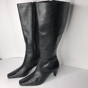 af2f63ea7bd Liz Claiborne ISIS Black Leather Knee High Dress Boots Heels Size ...