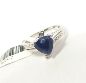 Genuine-Sapphire-Sterling-Silver-Ring-with-Diamonds-Size-7