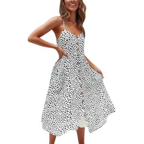 Fashion Womens Holiday Strappy Button Down Pocket Beach Midi Swing Maxi Sundress