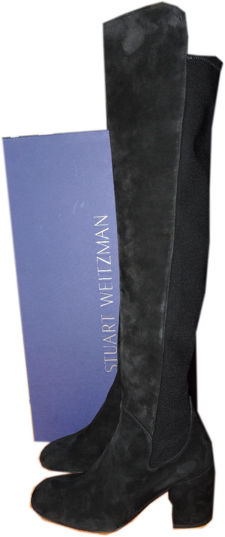 Stuart Stuart Stuart Weitzman Alljack 5050 Überknie Stiefel Schwarzes Veloursleder Schuhe 9.5  542ffa