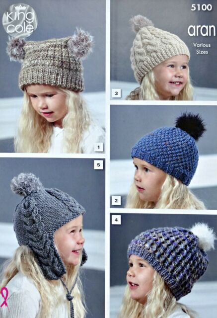 KNITTING PATTERN Childrens Hats 5 Styles Cable Slouchy Helmet Aran KingCole 5100