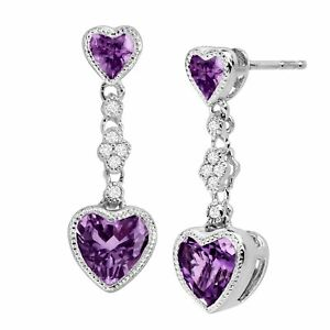 Natural-Amethyst-Double-Heart-Earrings-w-Created-White-Sapphires-Sterling-Silver