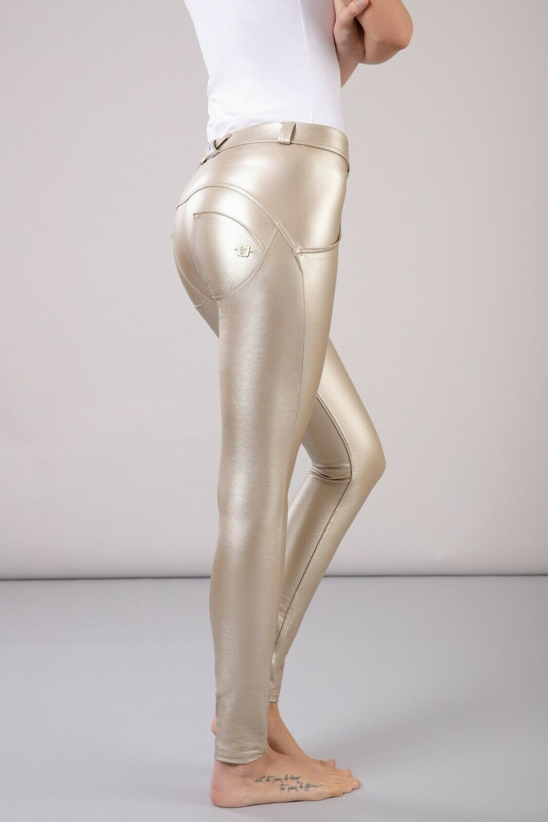 FREDDY WR.UP® SHAPING EFFECT PANTS - LOW WAIST -SUPER SKINNY - FAUX LEATHER gold