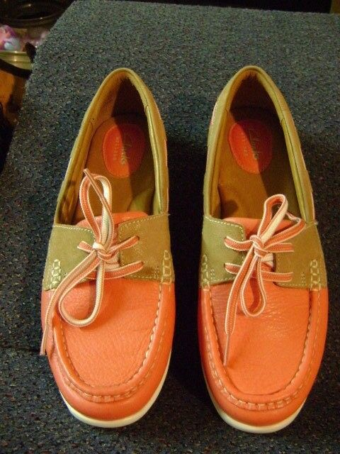 CLARKS ARTISAN PEACH Leather Driving Loafer Boat shoes Size 9M - 16732