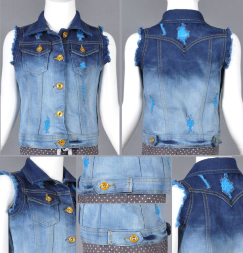 GIRL STRETCH DENIM JACKET VEST WITH COLOR RIP SIZE S-M-L 4 COLORWAY #RK-65676K