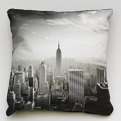 New York Lujo cubierta Cojín 100/% Algodón Negro de sarga de respaldo