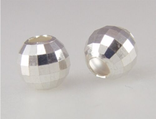 925 Sterling Silver 6mm Diamond Cut  Mirror Faceted Bead  10pcs #5120-6
